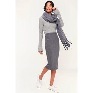 O'Neill gray ribbed knit midi skirt